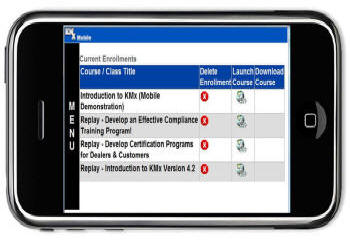 KMxMobile Student Current Enrollments Navigator on the Apple iPhone