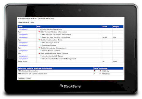 KMxMobile Course Outline on the Blackberry Playbook